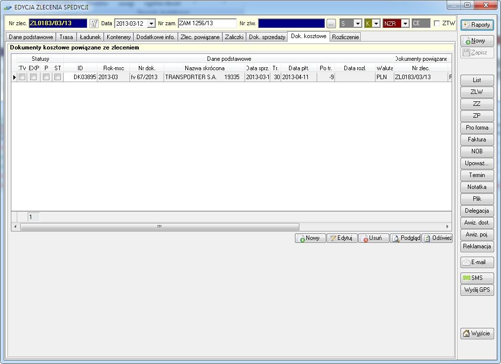 SpedTRans SQL 4.000 - Zlecenie transportu lub spedycji, dokumenty kosztowe powiązane ze zleceniem