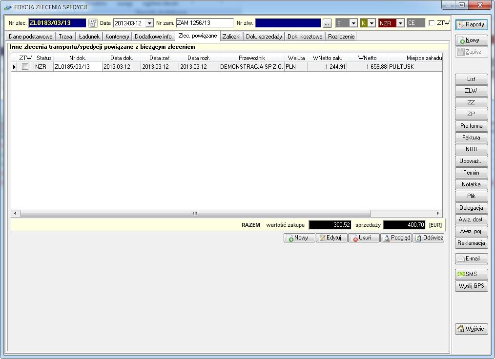 SpedTRans SQL 4.000 - Zlecenie transportu lub spedycji, zlecenia podrzędne (powiązane)