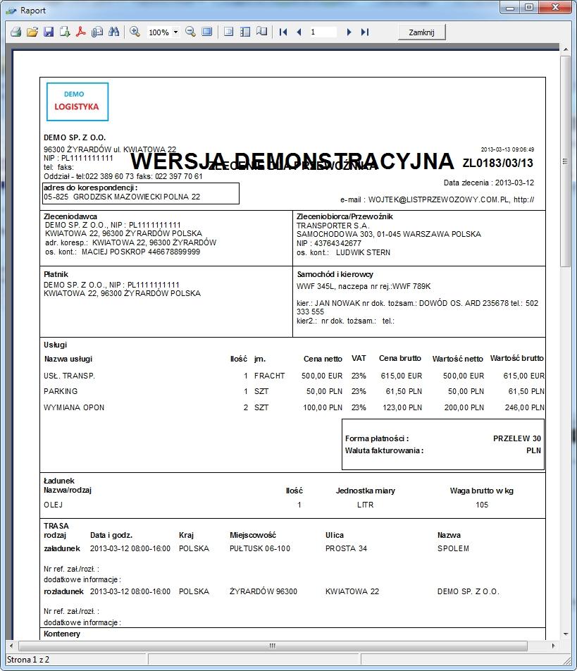 SpedTrans SQL 4.000 - Podgląd wydruku zlecenia transportu lub spedycji