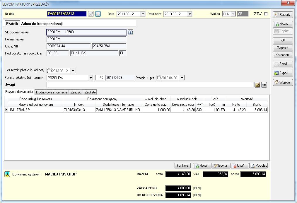 SpedTRans SQL 4.000 - Faktura sprzedaży