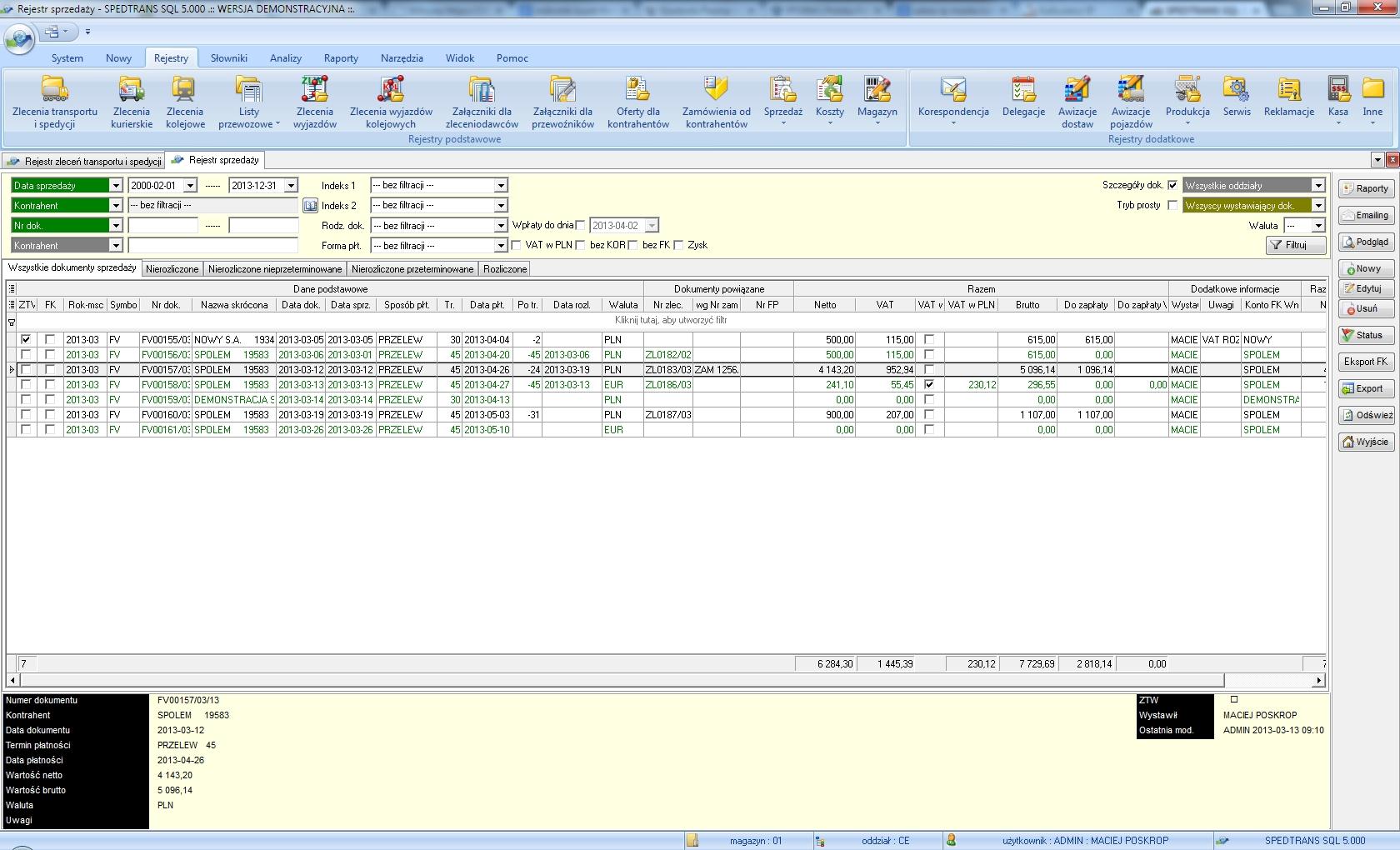 SpedTrans SQL 4.000 - Rejestr sprzedaży (VAT)