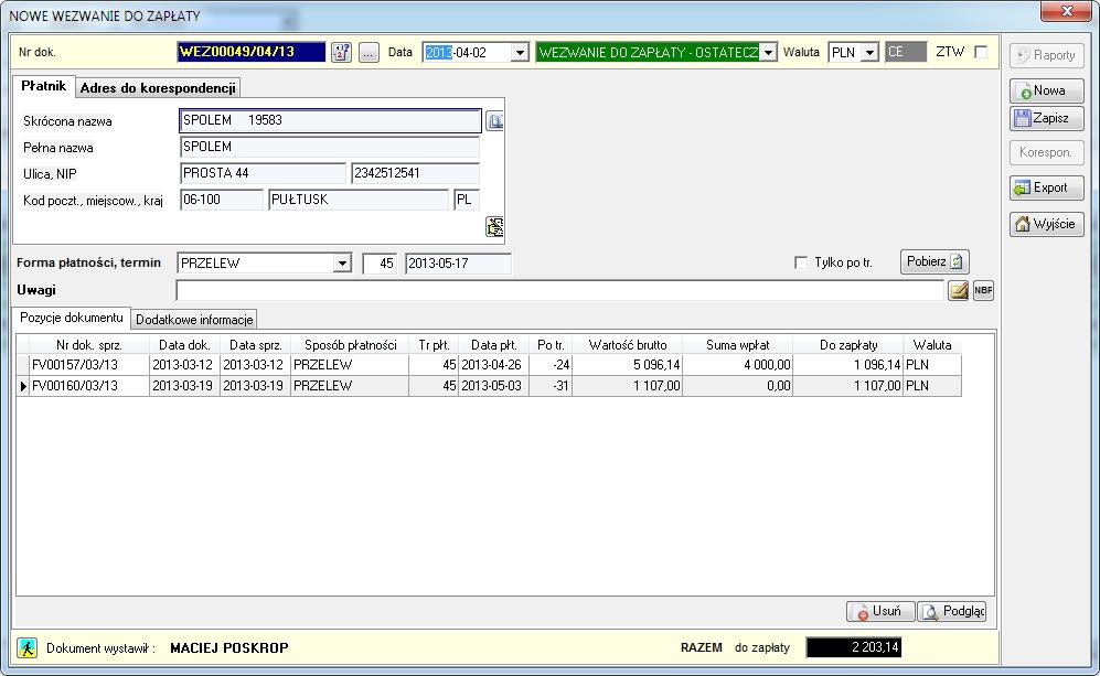 SpedTrans SQL 4.000 - Dokument wezwania do zapłaty (możliwe trzy opcje: przypomnienie, wezwanie, wezwanie ostateczne)
