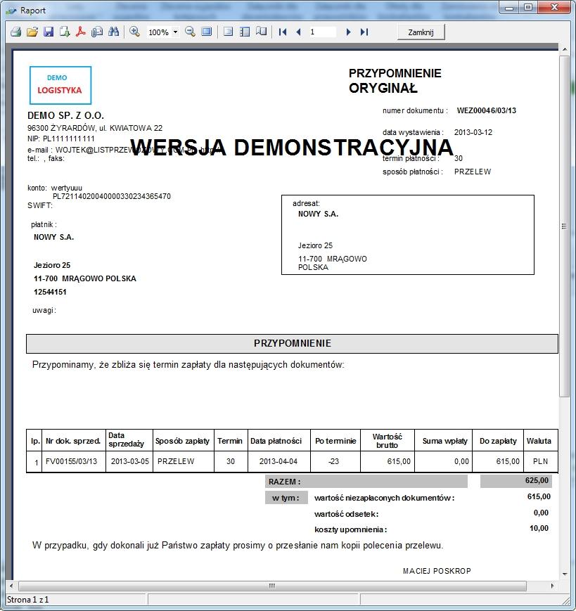 SpedTrans SQL 4.000 - Podgląd wezwania do zapłaty