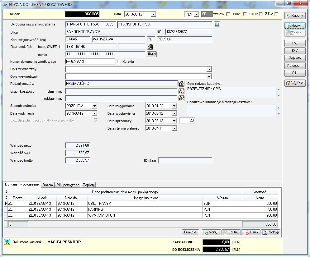 SpedTRans SQL 4.000 - Dokument kosztowy