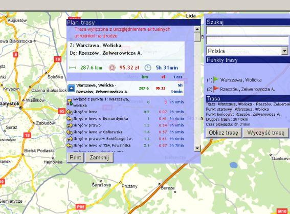 SpedTrans SQL 4.000 - Moduł eMapa, koszty trasy