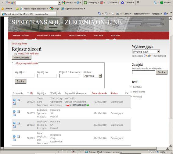 SpedTrans SQL 4.000 - zlecenia on-line, moduł www