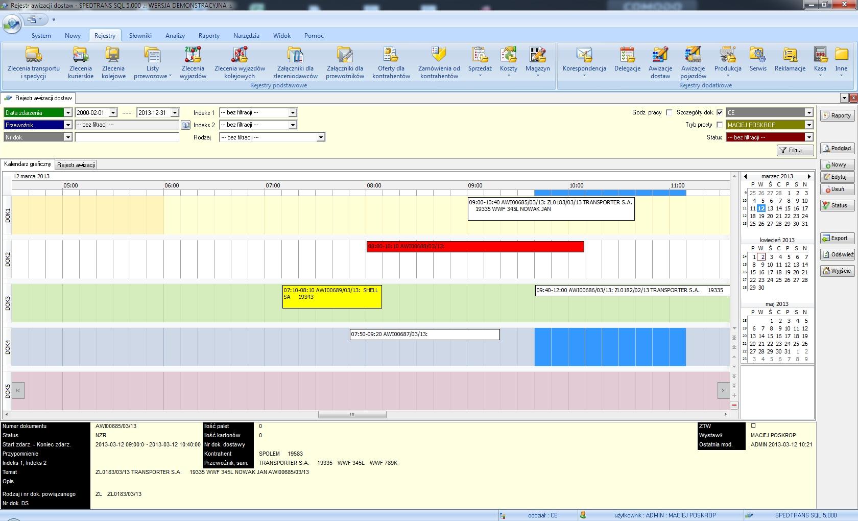 SpedTrans SQL 4.000 - Rejestr awizacji dostaw/załadunków (awizacja doków)