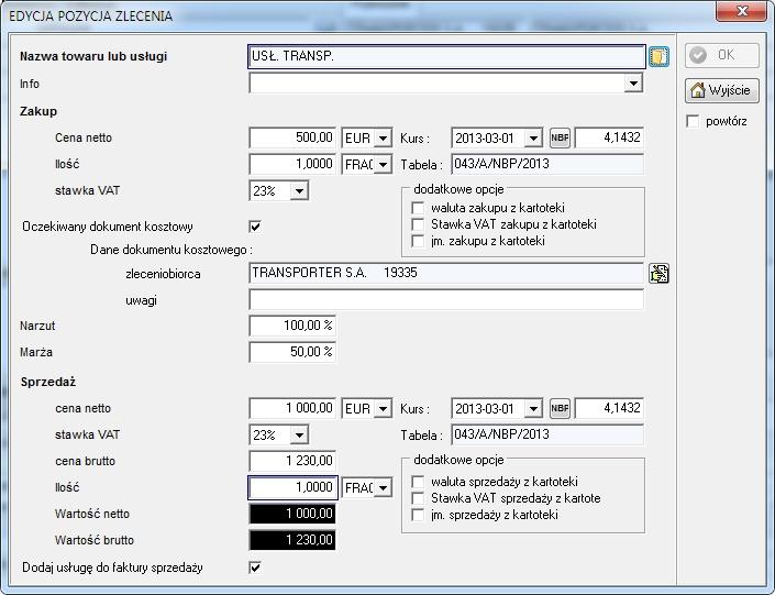 SpedTrans SQL 4.000 - Zlecenie transportu lub spedycji, pozycja usługi
