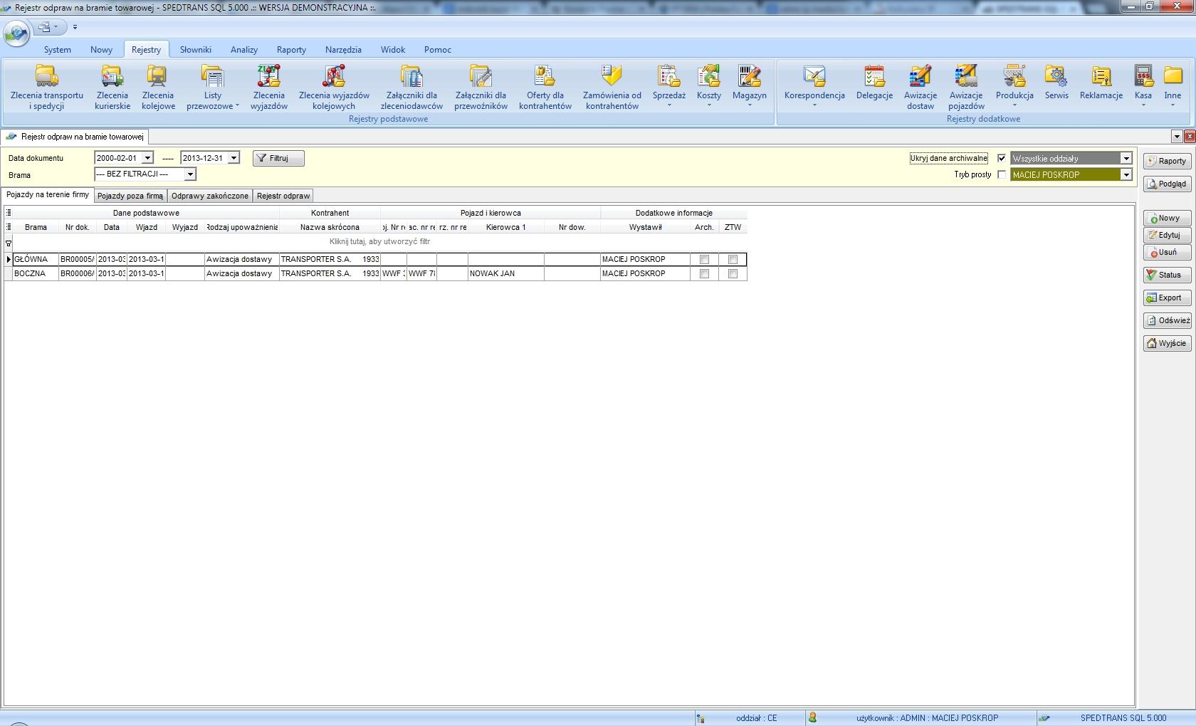 SpedTrans SQL 4.000 - Rejestr odpraw na bramie towarowej