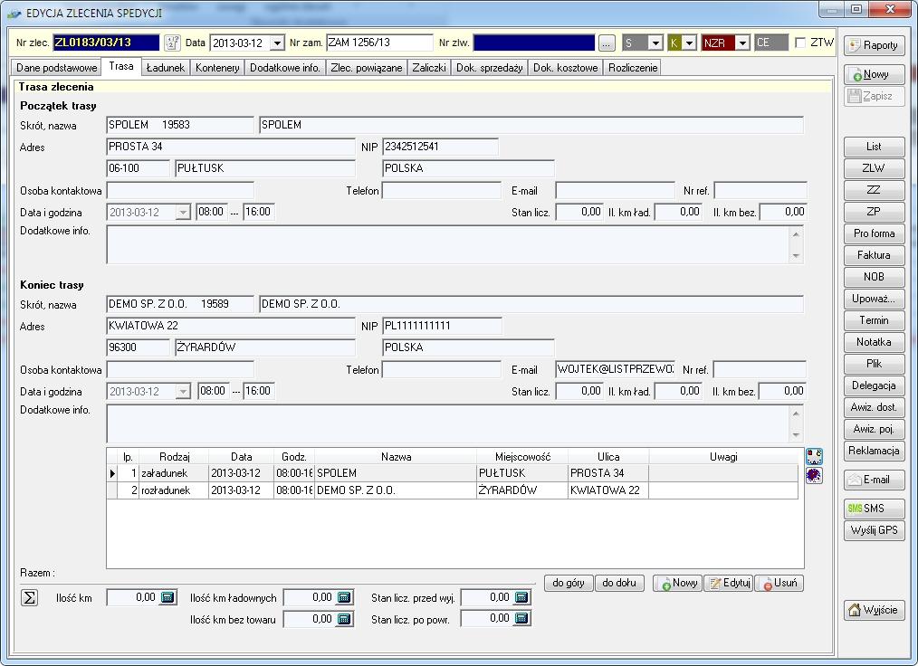 SpedTrans SQL 4.000 - Zlecenie transportu lub spedycji, trasa zlecenia