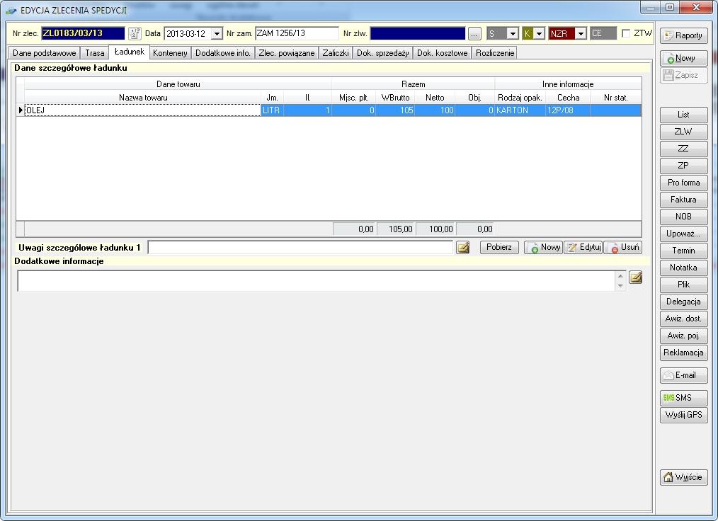 SpedTRans SQL 4.000 - Zlecenie transportu lub spedycji, ładunek - towar do przewiezienia