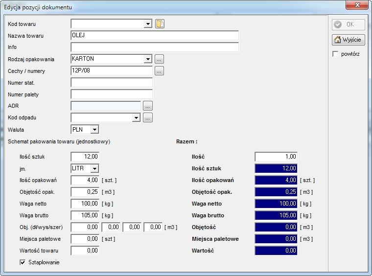 SpedTRans SQL 4.000 - Zlecenie transportu lub spedycji, ładunek - towar do przewiezienia, szczegółowe dane ładunku