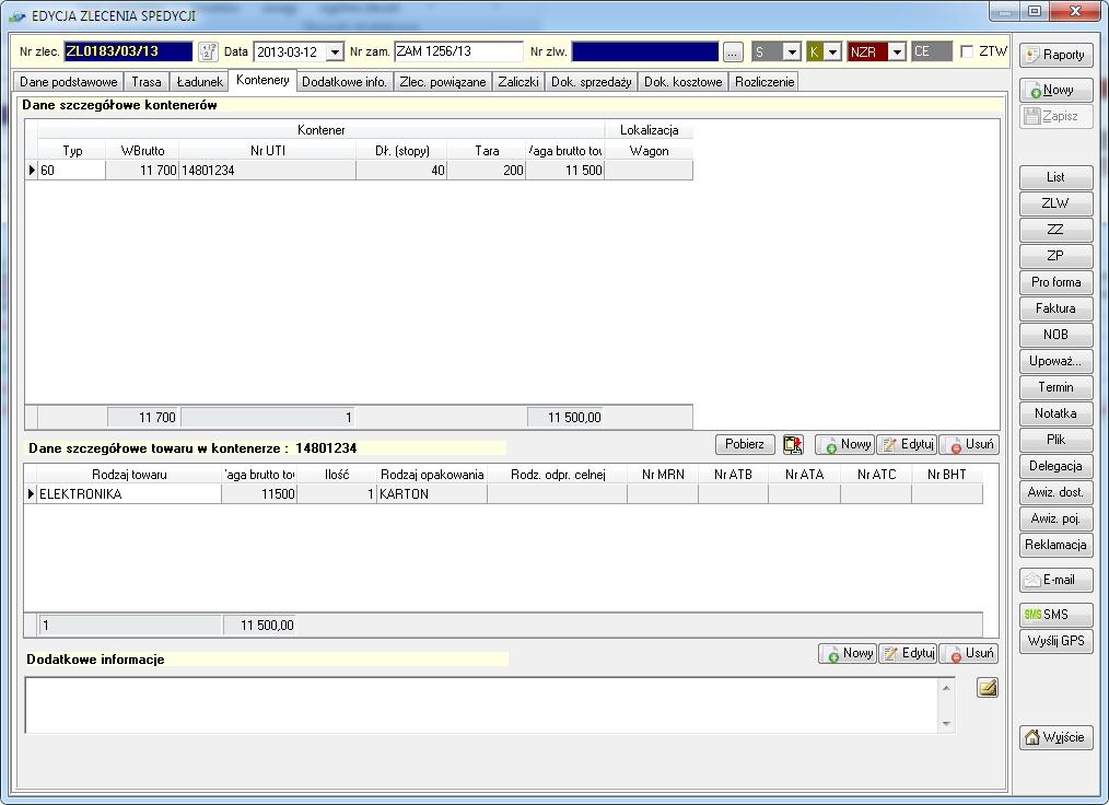 SpedTRans SQL 4.000 - Zlecenie transportu lub spedycji, zlecenie kontenerowe