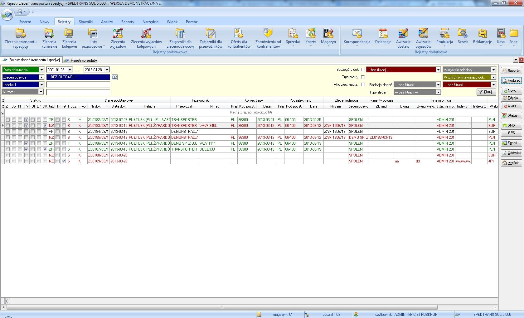 SpedTrans SQL 4.000 - Rejestr zleceń transportu lub spedycji
